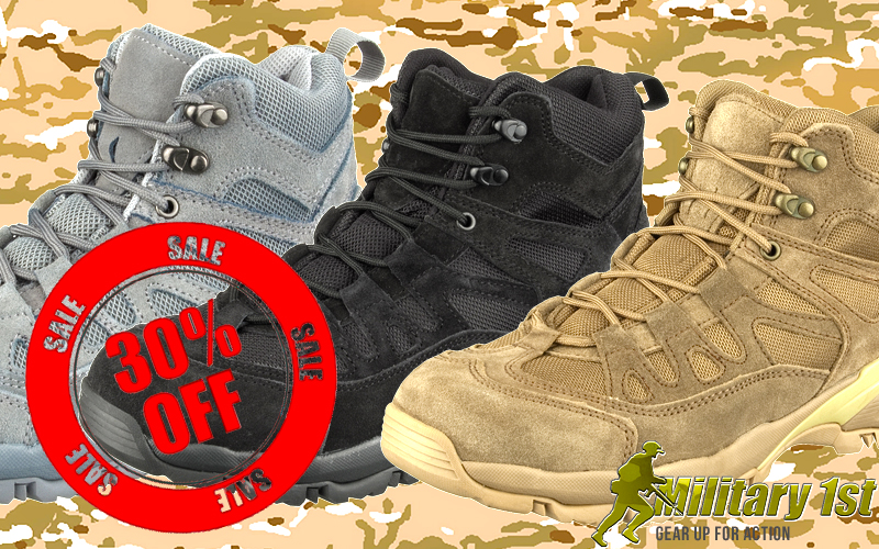 Military1st offering 30% off on their Brandit Outdoor Trail Mid Cut Boots.