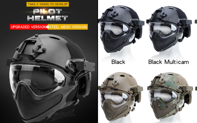 WoSport upgraded Pilot helmet (Steel mesh version)